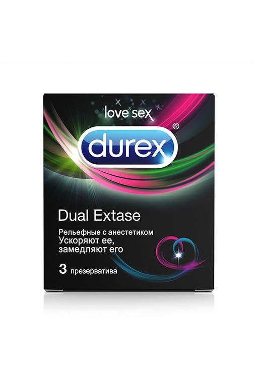 Презервативы Durex N3 Dual Extase рельефные с анестетиком фото