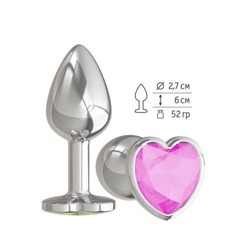 Анальная втулка Silver с розовым кристаллом сердце маленькая