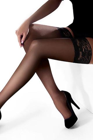 Классические черные чулки Erotic 15 den, кружевная резинка шириной 7 см с силиконовыми полосками