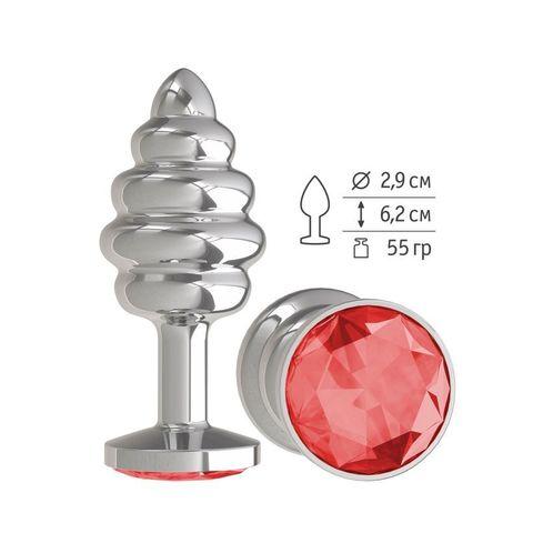Анальная втулка Silver Spiral с красным кристаллом маленькая