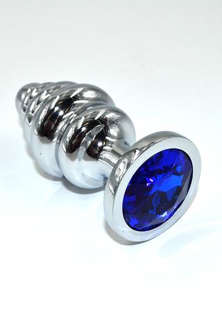 Серебряная ребристая анальная пробка с темно-синим кристаллом (Medium)