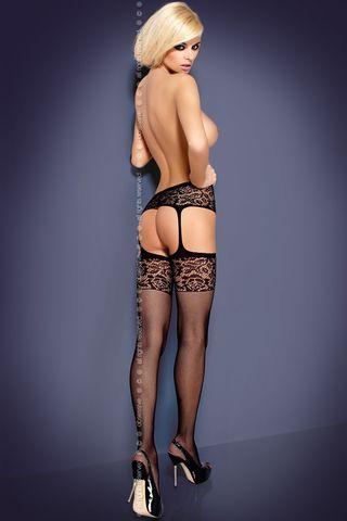 Черные чулки с поясом S 500 garter stockings