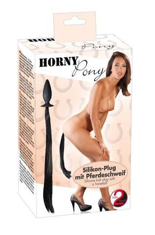 Анальная пробка с черным хвостом You2Toys HORNY Pony Plug