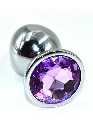 Серебряная анальная пробка с фиолетовым кристаллом (Large)