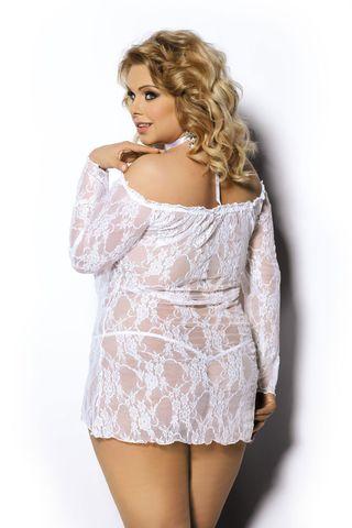 Сорочка белого цвета с сиреневым отливом как на фото и стринги Cobayo (в комплект входит украшение на шею с розой)