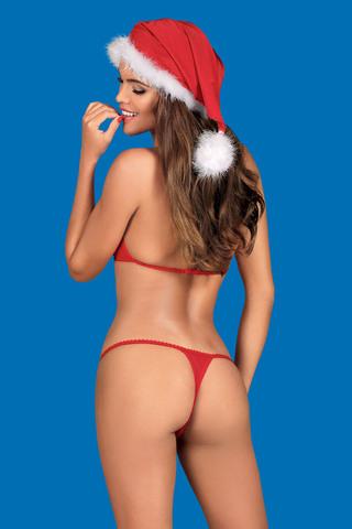 Эротический новогодний комплект белья Santastic(бюстгальтер, стринги, шапка) красного цвета
