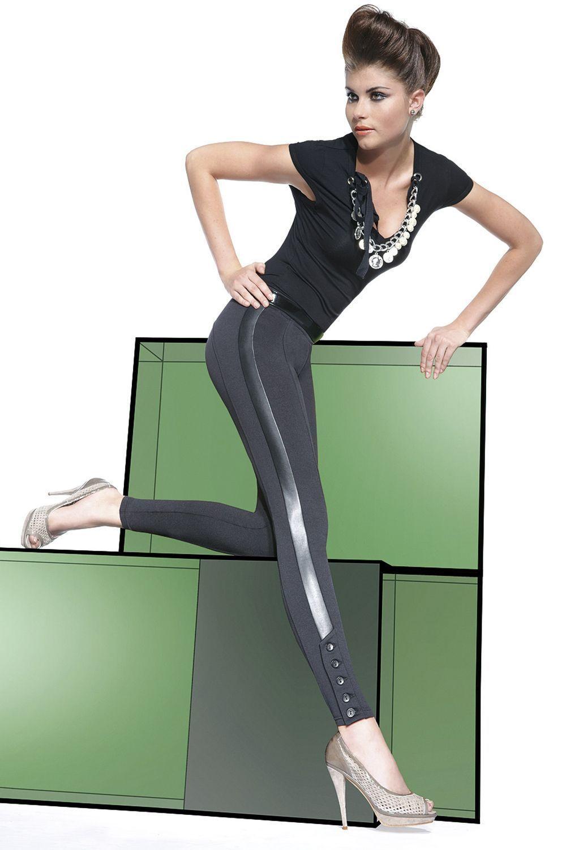 Черные легинсы Jessica 200 den с декоративными вставкими и пуговицами на голени фото