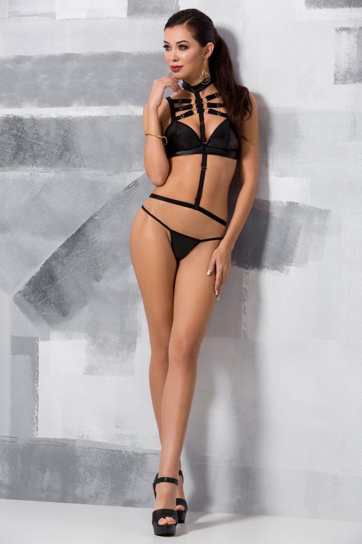 Эротический комплект белья (бюст + стринги) Lamis черного цвета, украшен стреп-лентами фото