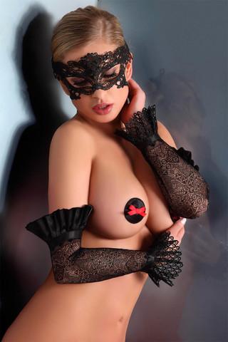 Шикарные митенки LC 28008 gloves model 10 Black выполнены из эластичного кружева с оригинальным узором