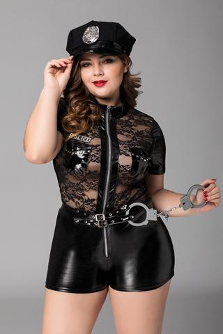 Костюм полицейской Candy Girl Porsche (комбинезон, наручники) черный, 2XL