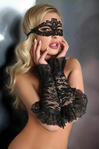 Шикарные митенки LC 28011 gloves model 13 Black выполнены из эластичного кружева с цветочным узором