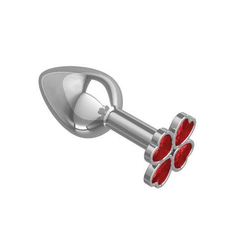 Анальная втулка малая Silver клевер с красным кристаллом