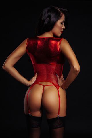 Красный корсет и трусики 7090