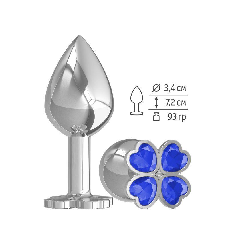 Средняя анальная втулка Silver Клевер с синим кристаллом фото