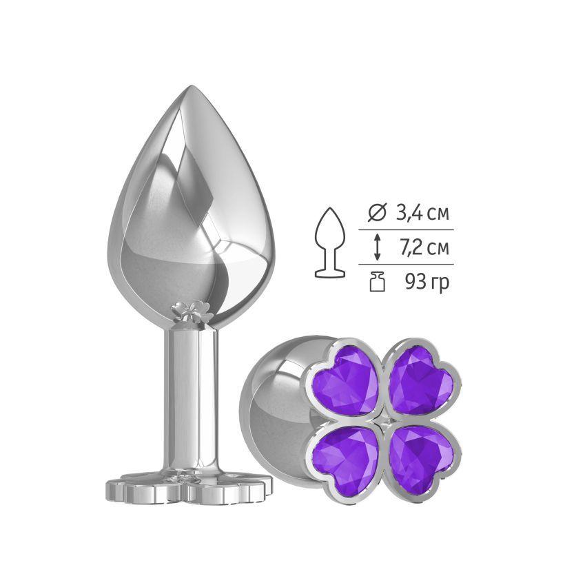 Средняя анальная втулка Silver Клевер с фиолетовым кристаллом фото