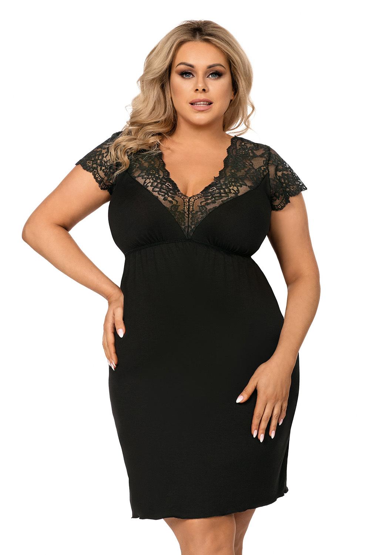 Черная сорочка Tess с V-образным вырезом горловины фото