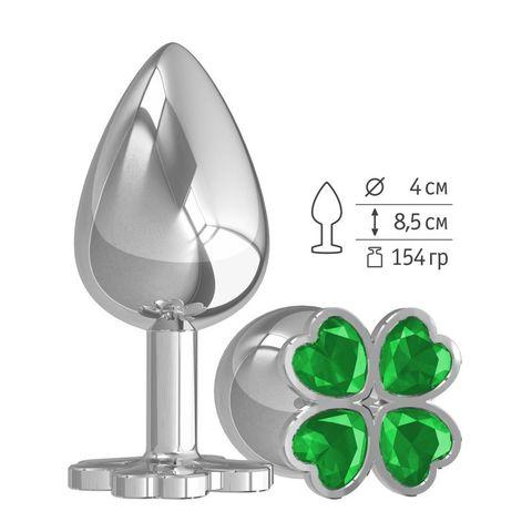 Большая анальная втулка Silver Клевер с зеленым кристаллом