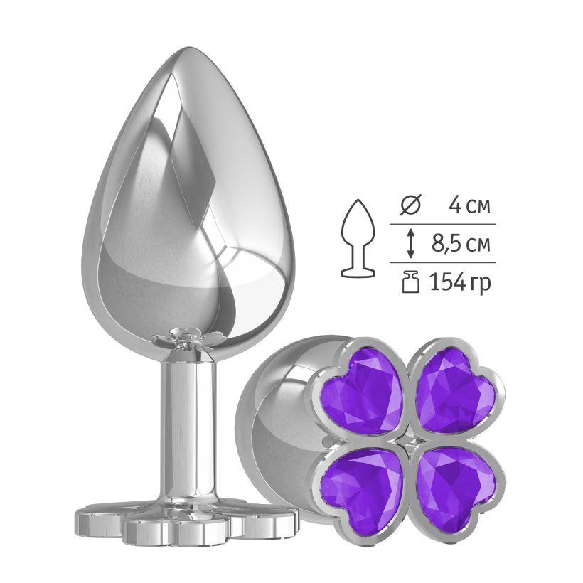 Большая анальная втулка Silver Клевер с фиолетовым кристаллом фото