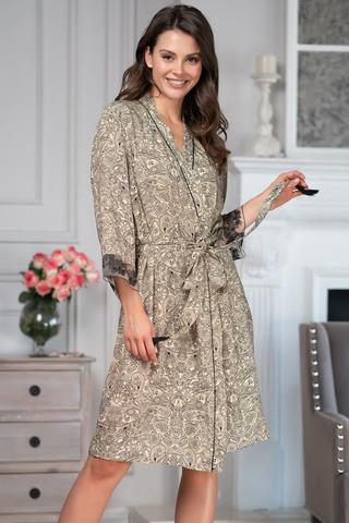Короткий халат – кимоно Mia-Amore выполнен из тканной принтованной вискозы в сочетании с изысканным кружевом