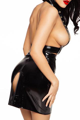 Сексуальная черная лакированная юбка на шнуровке спереди и итригующей молнией сзади