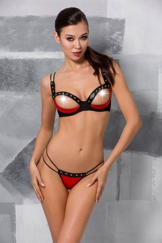 Эротический комплект белья (открыты бюст + стринги) Midori черно-красного цвета