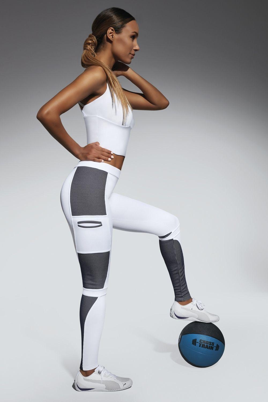 Легинсы для фитнеса Passion 200 den бело-голубого цвета изготовлены из полностью непрозрачного, эластичного, корректирующего фигуру материала фото