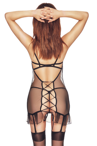 Черная эротическая сорочка из тюля с черной атласной отделкой впереди и шнуровкой на спине, чашки лифа на косточках и декорированы кружевом и люрексом
