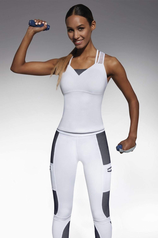 Майка для фитнеса Passion top 50 200 den бело-голубого цвета изготовлена из полностью непрозрачного, эластичного, корректирующего фигуру материала фото