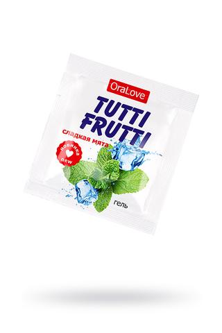 Съедобная гель-смазка TUTTI-FRUTTI для орального секса со вкусом сладкой мяты 4г по 20 шт в упаковке