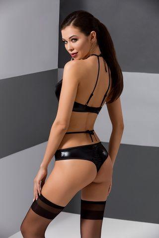 Эротический комплект белья (бюст + стринги) Navel черного цвета