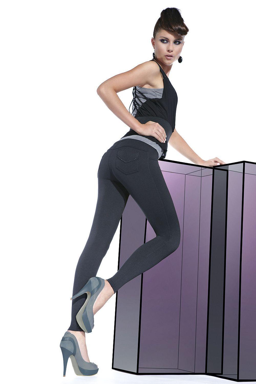 Фантазийные черные легинсы под джинсы Sandra 200 den фото