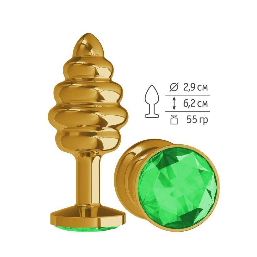 Анальная втулка Gold Spiral с зеленым кристаллом маленькая фото