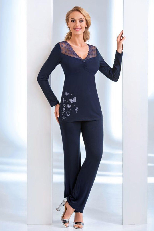 Темно-синий лонгслив Dorothy pyjamas с длинным рукавом и кружевными вставками и темно-синие штаны фото