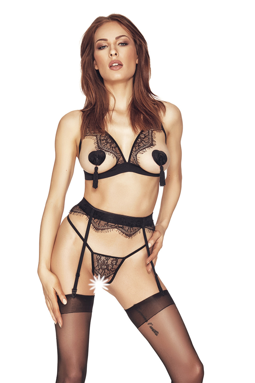 Черный комплект белья Oriah из стрэп-лент с открытой грудью и контактными стрингами фото