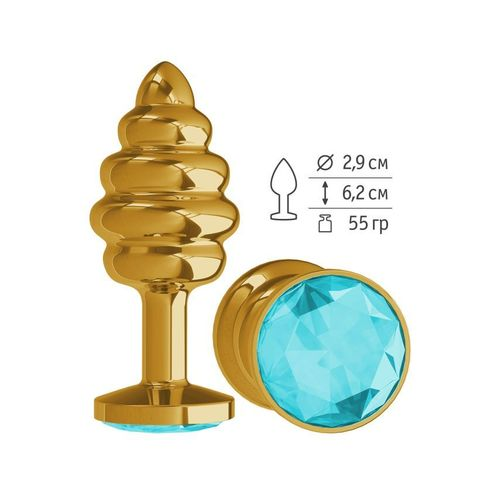 Анальная втулка Gold Spiral с голубым кристаллом маленькая