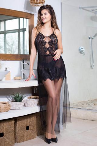 Платье домашнее женское выполнено из мягкой сетки с элегантным кружевом