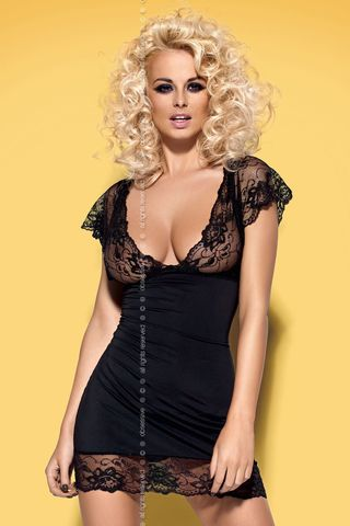 Черная сорочка и стринги Idillia chemise