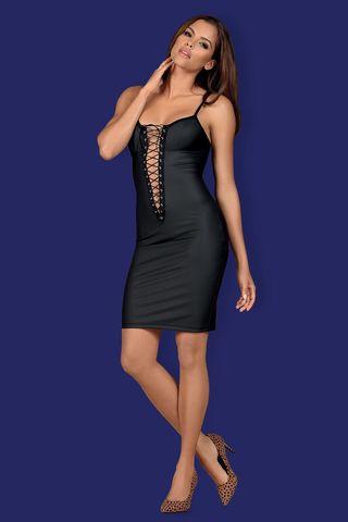 Соблазнительное платье Redella черного цвета выполнено из эластичной эко-кожи