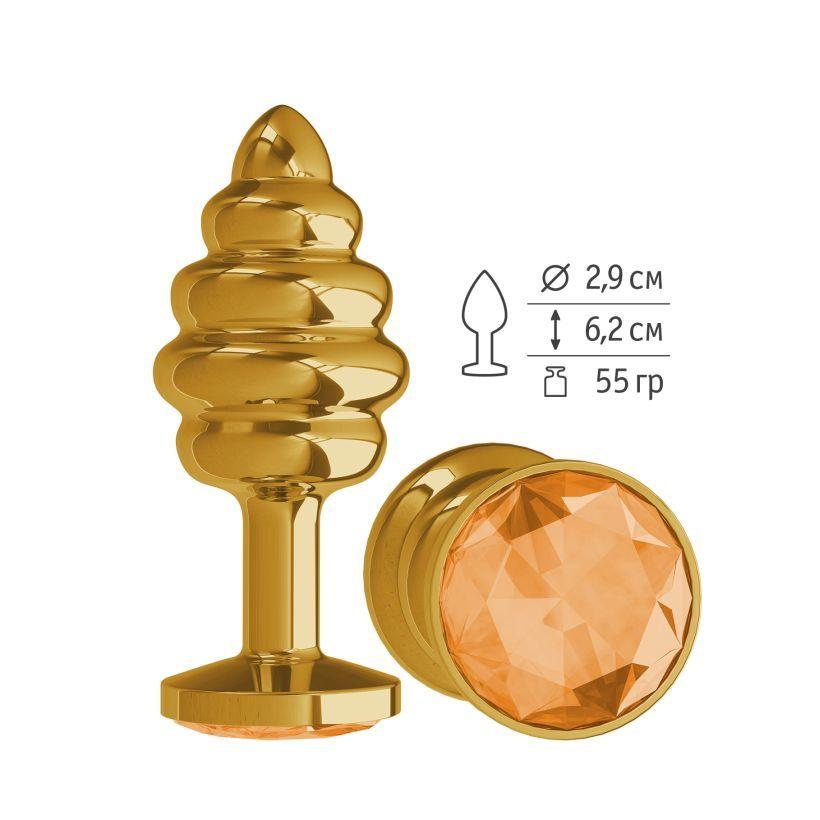 Анальная втулка Gold Spiral с оранжевым кристаллом маленькая фото