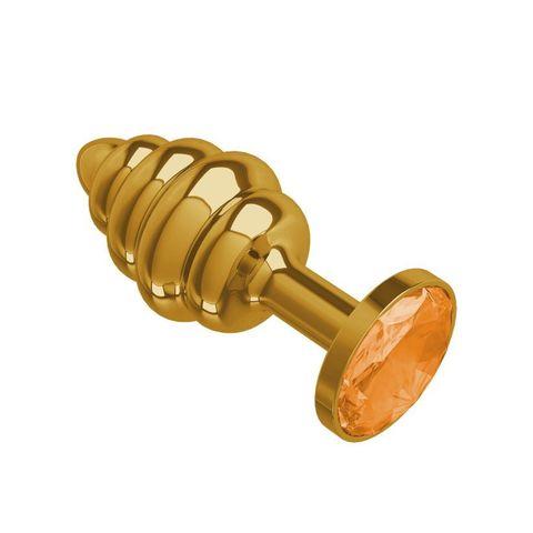 Анальная втулка Gold Spiral с оранжевым кристаллом маленькая