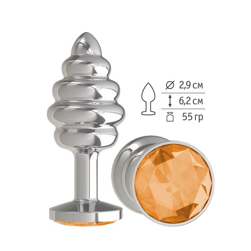 Анальная втулка Silver Spiral с оранжевым кристаллом маленькая фото