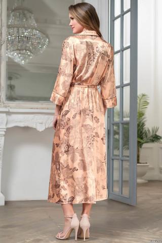Элегантный длинный халат на пуговицах Mia-Amore выполнен из смесового шелкового полотна с цветочным орнаментом