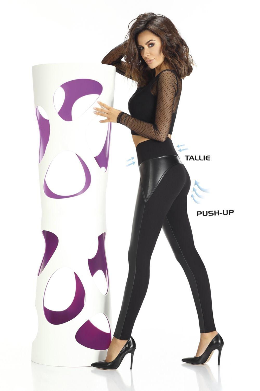 Черные легинсы Spencer 200 den c высокой талией, с эффектом push-up и декоративными вставками фото