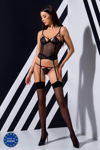 Эротический полупрозрачный корсет Perita черного цвета