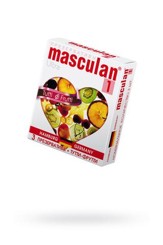 Презервативы Masculan Ultra 1,  3 шт.  Тутти-Фрутти (Tutti-Frutti)  ШТ