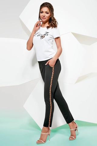 Черные леггинсы-брюки Isla с карманами, по бокам леопардовые лампасы
