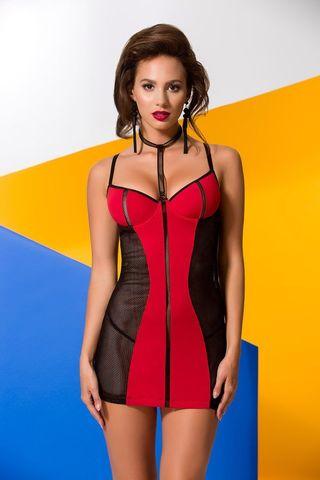 Сорочка + стринги Coline красного цвета в сочетании с мягкой сеточкой черного цвета