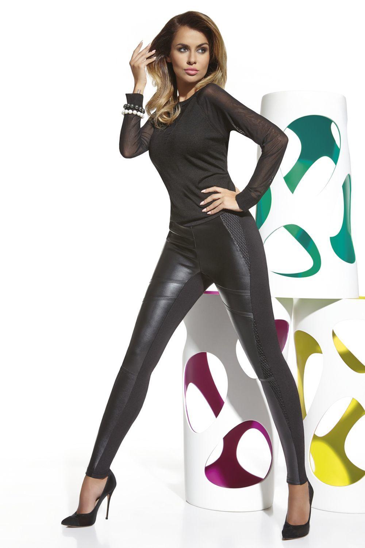 Черные легинсы с кожаными вставками Taylor 200 den фото