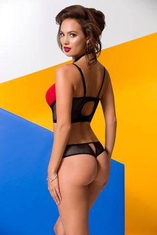Комплект белья (бюст + трусики) Coline красного цвета в сочетании с мягкой сеточкой черного цвета