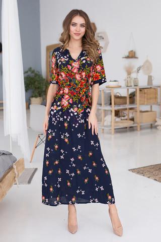 Платье домашнее женское выполнено из принтованной яркой вискозы